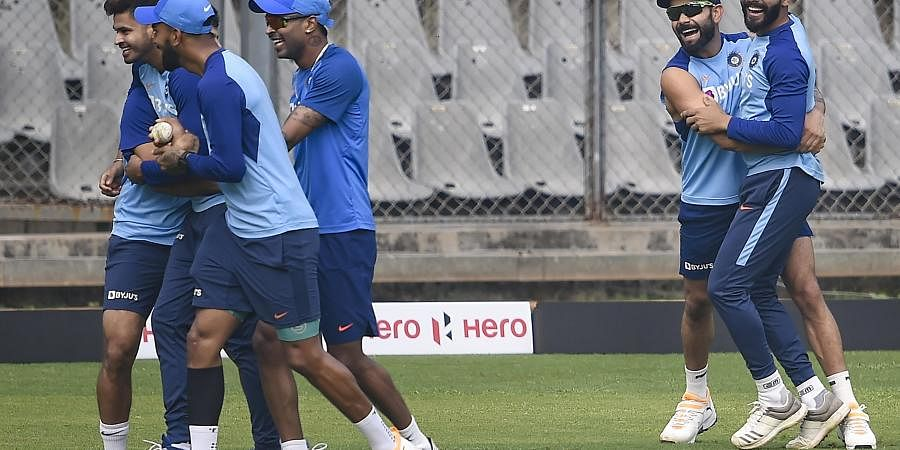 Indian team players during a training session ahead of the first one day international cricket match against Australia at Wankhede Stadium in Mumbai Monday Jan. 13 2020. (Photo | PTI)