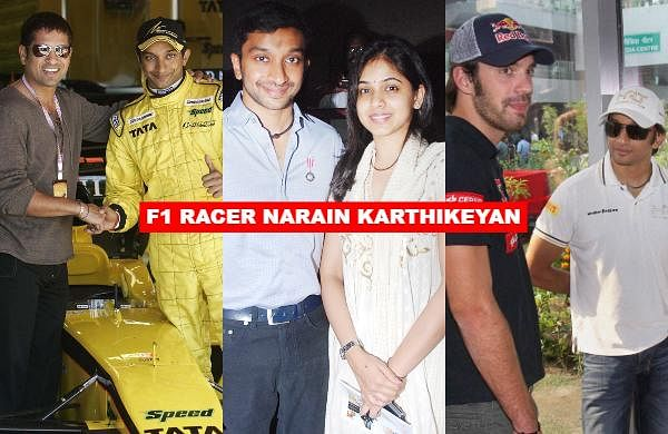 As India's first F1 racer Narain Karthikeyan turns a year older today, let us take a look at some of the rare snaps of the Padma Shri awardee.