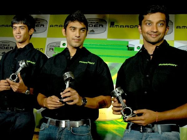 Narain Karthikeyan, Armaan Ibrahim and Aditya Patel during the launch of Amaron pro biker battery by Amara Raja at Taj Coromandel.