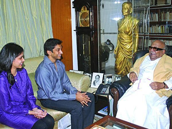 F1 racer Narain Karthikeyan and his wife Pavarna seen with then Tamil Nadu CM Karunanidhi in Chennai.