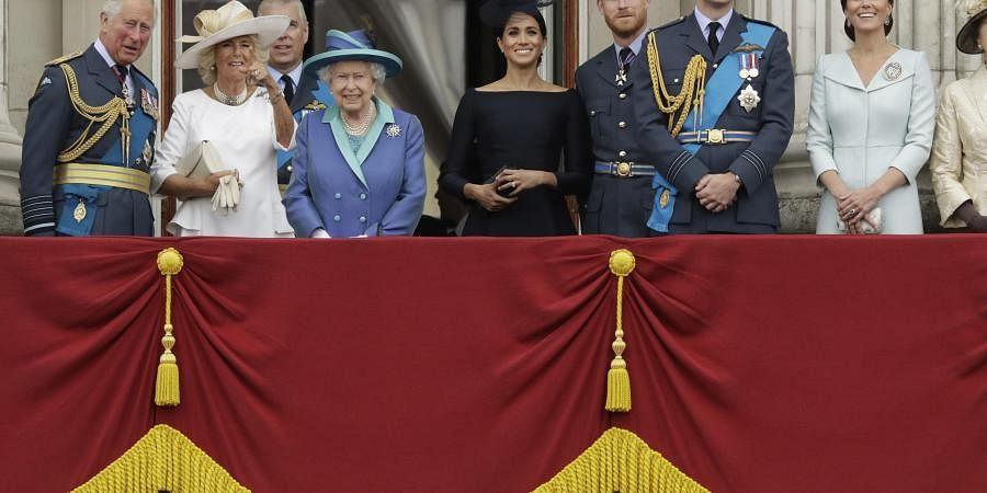 Members of the royal family gather on the balcony of Buckingham Palace