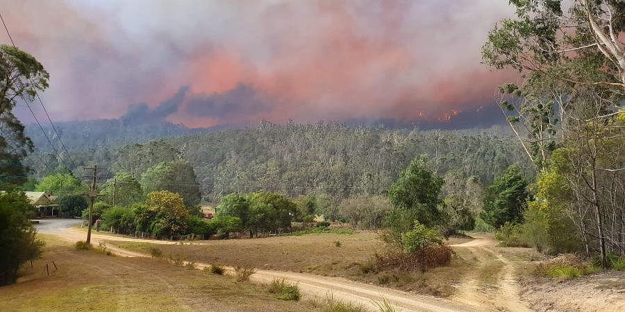 A fire approaches the village of Nerrigundah, Australia.