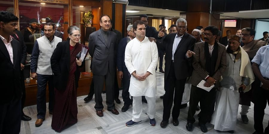 Congress interim president Sonia Gandhi, party leaders Gulam Nabi Azad, Rahul Gandhi, CPM leaders  Sitaram Yechuri D. Raja and Jharkhand CM Hemant Soren after an Opposition leaders' meeting to discuss the current political situation following widespread protests against the amended Citizenship Act and the violence on campuses in New Delhi on Monday Jan. 13 2020. (Photo | Shekhar Yadav/EPS)