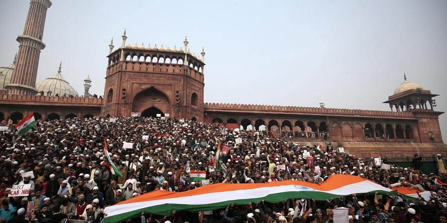 Demonstrators attend a protest against a new citizenship law after Friday prayers at Jama Masjid in Delhi on Friday December 20 2019. (Photo | Shekhar Yadav/EPS)