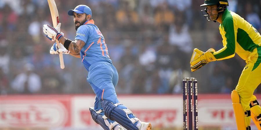 Indian batsman Virat Kohli plays a shot during the first one day international ODI cricket match between India and Australia at the Wankhede Stadium in Mumbai. (Photo | PTI)