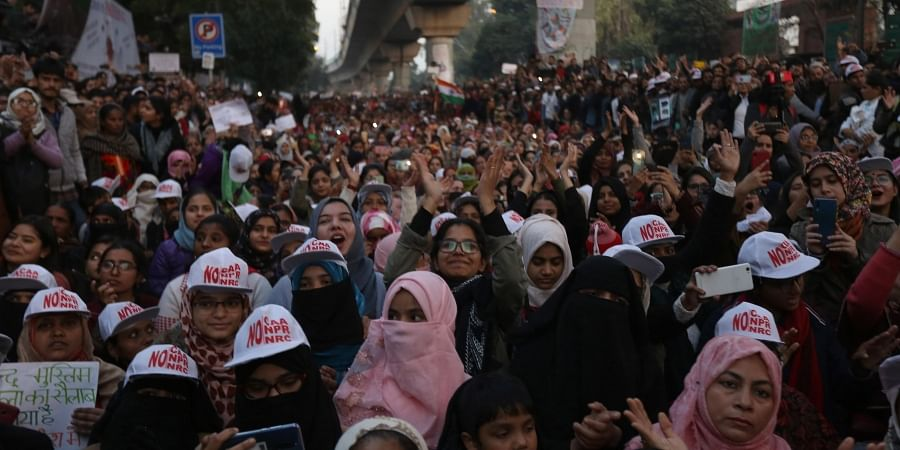 Demonstration against Citizenship Amendment Act outside Jamia Milia Islamia University in New Delhi on Sunday Jan. 12 2020. (Photo | Arun Kumar P/EPS)