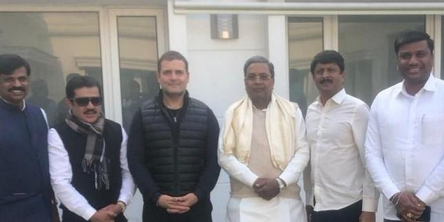 Former Karnataka chief minister Siddaramaiah with Congress leader Rahul Gandhi.