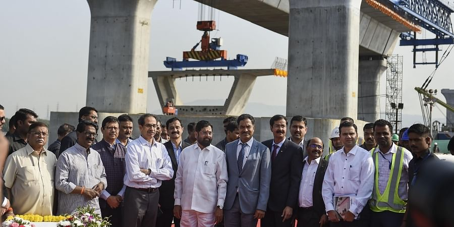 Maharashtra CM Uddhav Thackeray (C) along with Cabinet Minister of Urban Development and Public Works Eknath Shinde (L) during the launch of first girder for the Mumbai Trans Harbour Link MTHL mega project in Mumbai Wednesday Jan. 15 2020. (Photo | PTI)