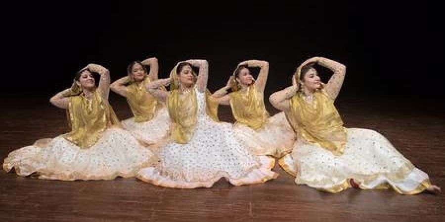 A traditional Kathak dance performance by young students of Aamad Dance Centre