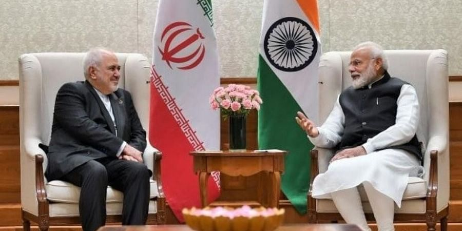 Iran's Foreign Minister Mohammad Javad Zarif with Prime Minister Narendra Modi