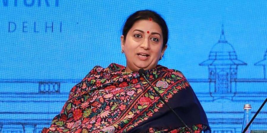 Union Minister for Women Child Development and Textiles Smriti Irani addresses the Raisina Dialogue 2020 in New Delhi Jan. 15 2020.