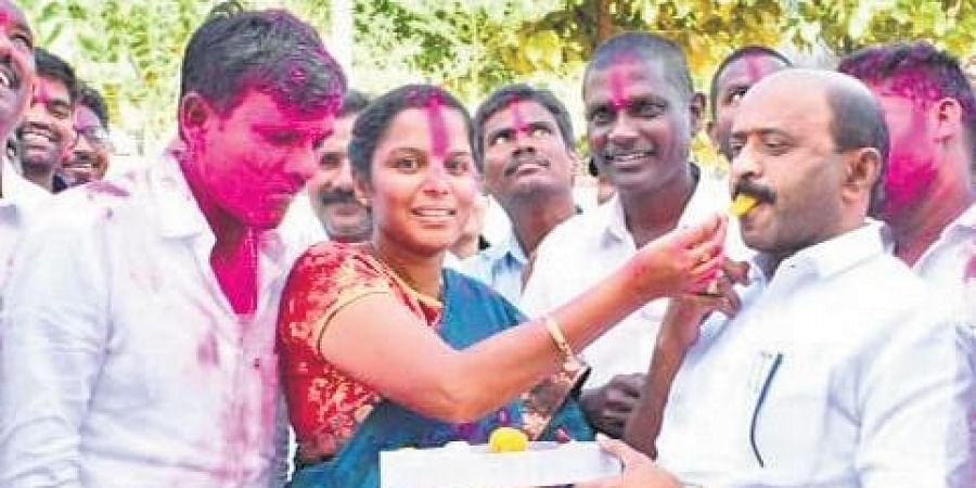 The elected members celebrating their victory with Parakal MLA Challa Dharma Reddy on Tuesday.