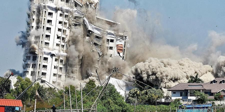 Jains Coral Cove being demolished through controlled implosion in Maradu municipality on Sunday