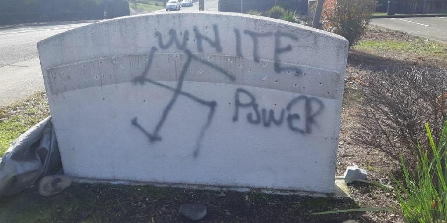 The gurdwara slab with 'White Power' written over it