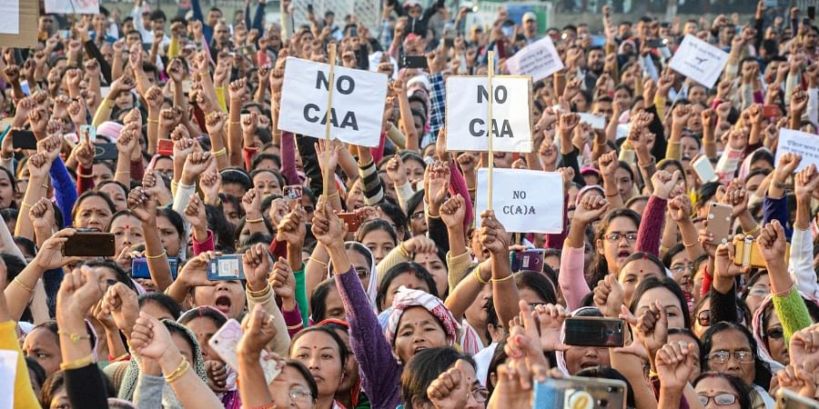 All Assam Students Union AASU supporters stage a protest rally against the amended Citizenship Act in Dibrugarh Tuesday