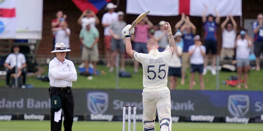 England's Ben Stokes celebrates reaching his century during day two of the third cricket test between South Africa and England in Port Elizabeth, South Africa. (Photo   AP)