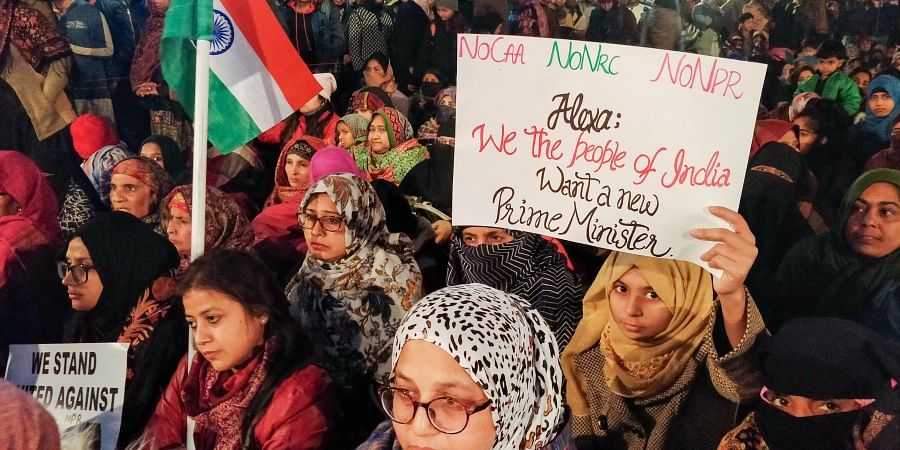 Protesters gather at Shaheen Bagh to oppose the amended Citizenship Act in New Delhi Tuesday Dec. 31 2019. (Photo | PTI)