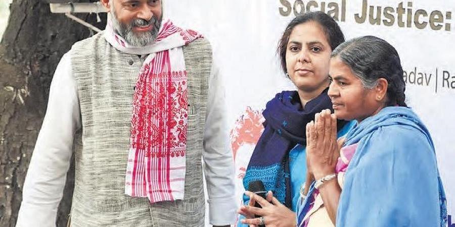 (From left) Swaraj India president Yogendra Yadav; activist Asma Rashid; and Radhika Vemula at Lamakaan in Hyderabad to observe Rohith's 4th death anniversary on Friday