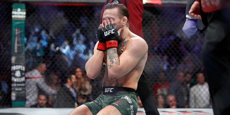 Conor McGregor reacts after defeating Donald 'Cowboy' Cerrone during a UFC 246 welterweight mixed martial arts bout.