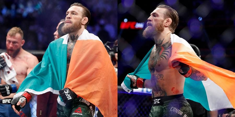 Conor McGregor celebrates after defeating Donald 'Cowboy' Cerrone during a UFC 246 welterweight mixed martial arts bout.
