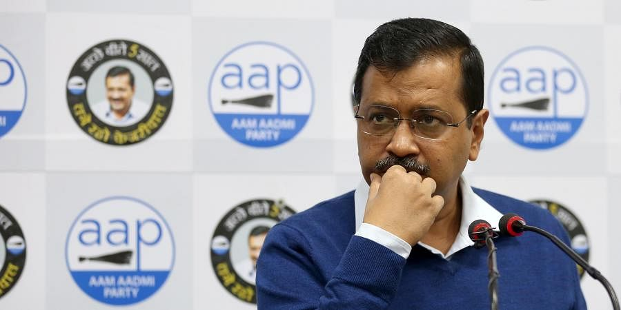 Delhi Chief minister Arvind Kejriwal addressing a press conference at party office in New Delhi on Thursday.