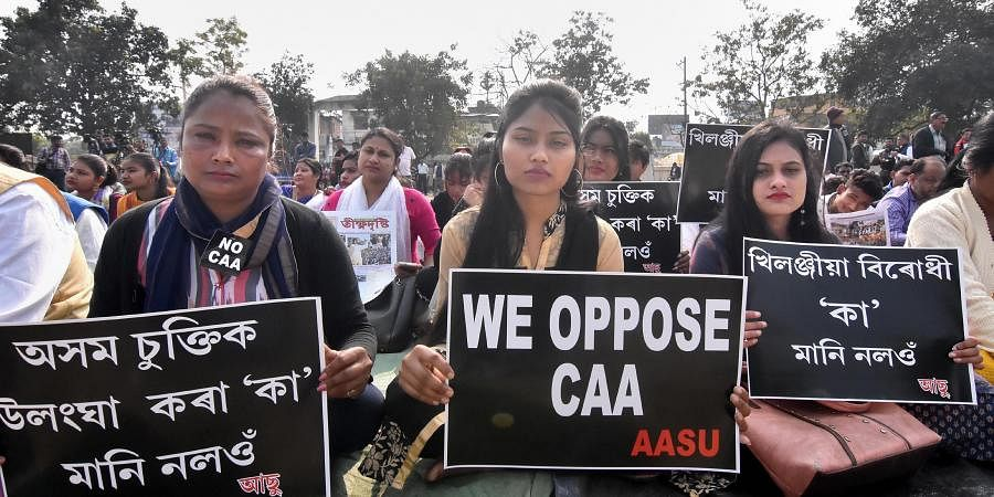 Activists of All Assam Students Union (AASU) protest against the Citizenship Amendment Act CAA in Guwahati Saturday Jan. 18 2020. (Photo | PTI)
