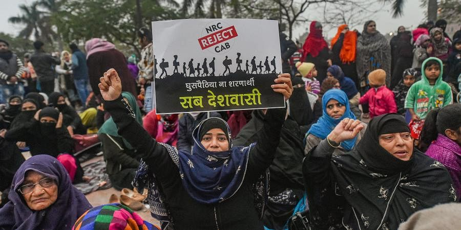 Muslim women stage a protest against CAA and NRC near Ghataghar in old Lucknow Saturday Jan. 18 2020. (Photo | PTI)