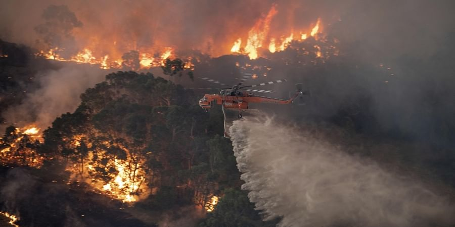 In this Monday, Dec. 30, 2019 photo provided by State Government of Victoria, a helicopter tackles a wildfire in East Gippsland, Victoria state, Australia. (Photo | AP)