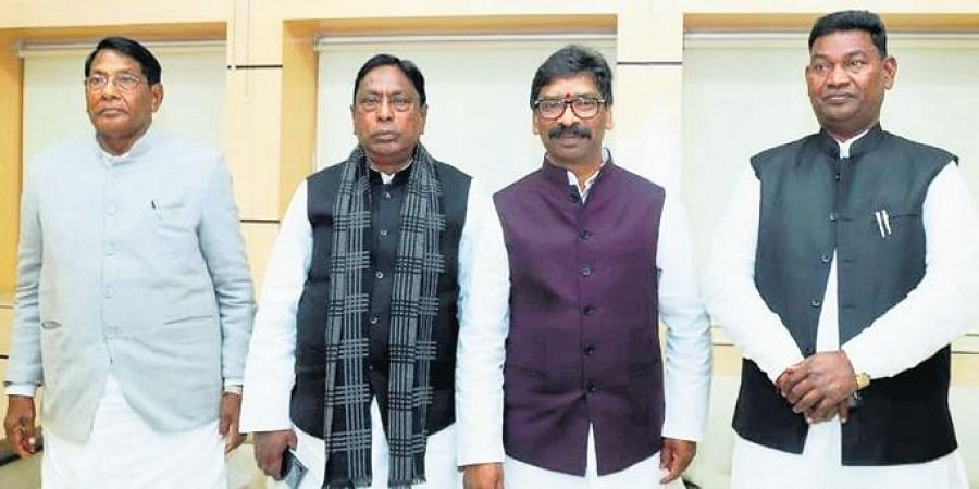 Jharkhand Chief Minister Hemant Soren (third from left) with his ministers during their first cabinet meeting at State Secretariat, in Ranchi.