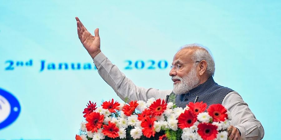 Prime Minister Narendra Modi speaks during the launch of five Defence Research and Development DRDO young scientists laboratories during his two-day visit in Karnataka in Bengaluru. (Photo | Twitter)