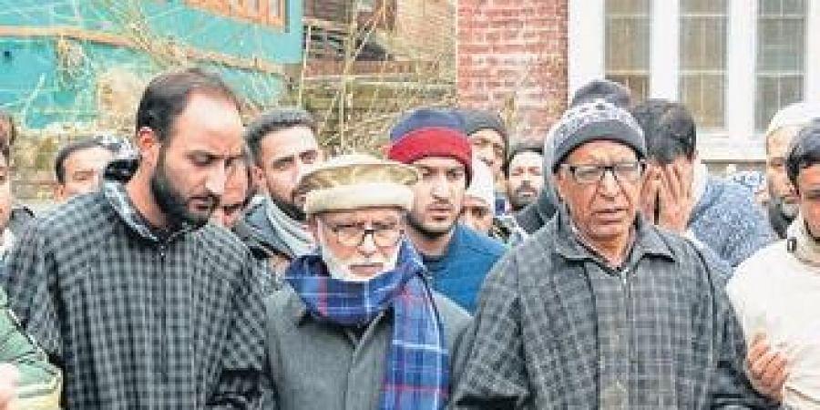 NC leader Ali Mohd Sagar, detained since August 5, attends funeral prayers of Ghulam Mohd Kawa, in Srinagar.
