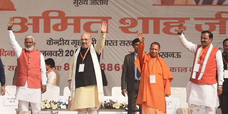 Union Home Minister Amit Shah and UP CM Yogi Adityanath during a rally in support of CAA in Lucknow Tuesday