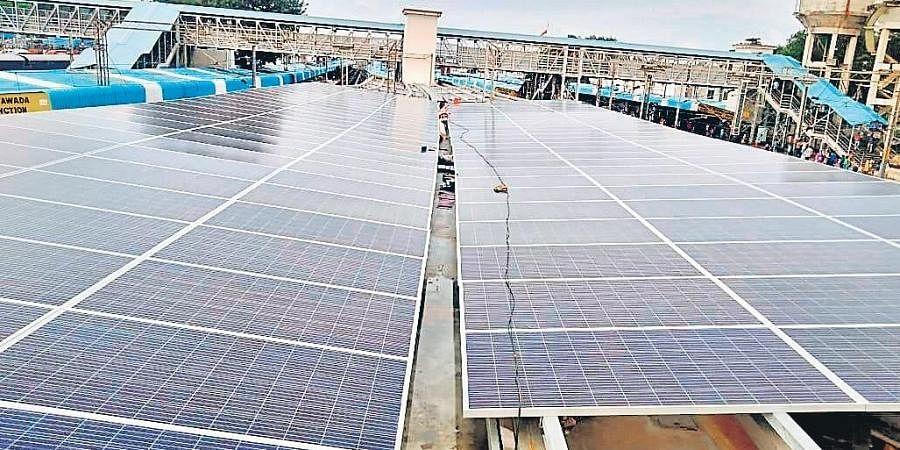 The solar power plant on platform Nos 4 and 5 of Vijayawada railway station