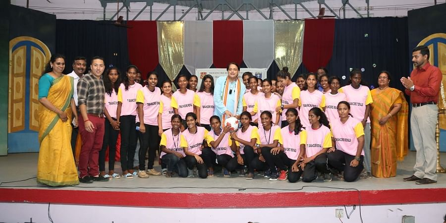 Shashi Tharoor, MP, with members of the newly-launched Women's Football Academy