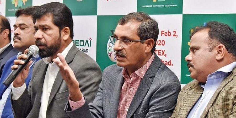 CREDAI chief Ramakrishna Rao and general secretary V Rajashekar Reddy at the launch of its Property Expo, on Thursday.