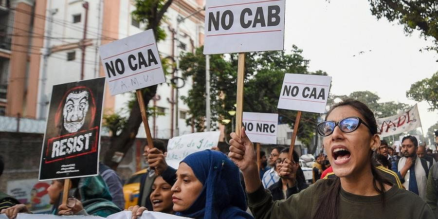 Students take part in a rally protest against Citizenship Act and NRC in Kolkata Friday Dec. 20 2019. (Photo | PTI)