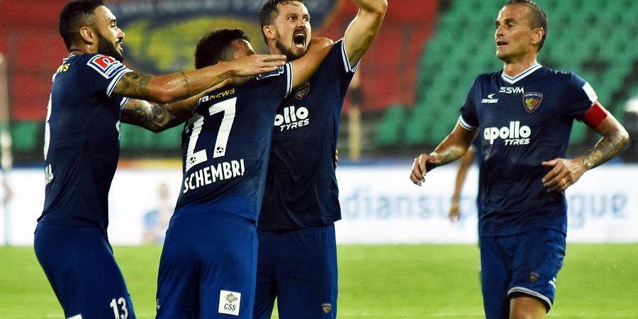 Chennaiyin FC's Nerijus Valskis (C) scored a brace against Jamshedpur