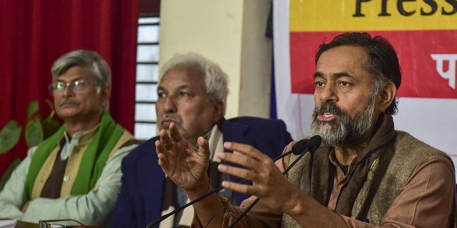 Swaraj India president Yogendra Yadav R addresses a press conference on the issue of Citizenship Amendment Act CAA National Register of Citizens NRC and National Population Register NPR under the banner 'We The People of India' in New Delhi Friday Jan. 24 2020.