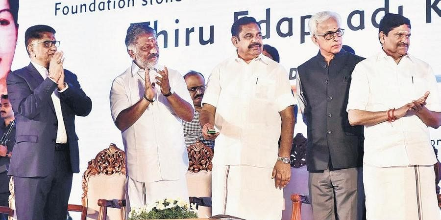 CM Edappadi K Palaniswami at the foundation stone laying ceremony for DLF DownTown on Thursday.