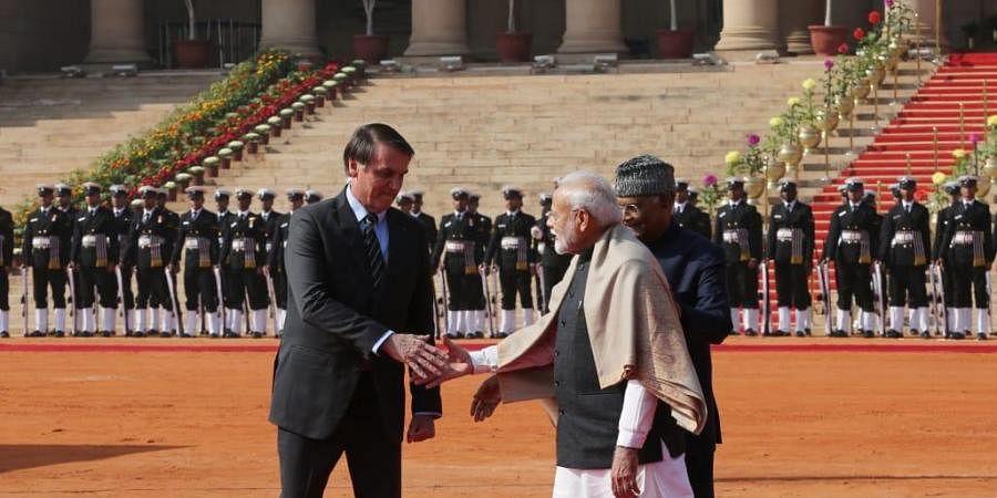 Brazil President Jair Bolsonaro receives ceremonial reception at Rashtrapati Bhawan...