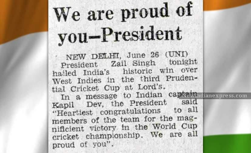A news clip about the then President Zail Singh hailing the Indian team' victory at the 1983 World Cup.