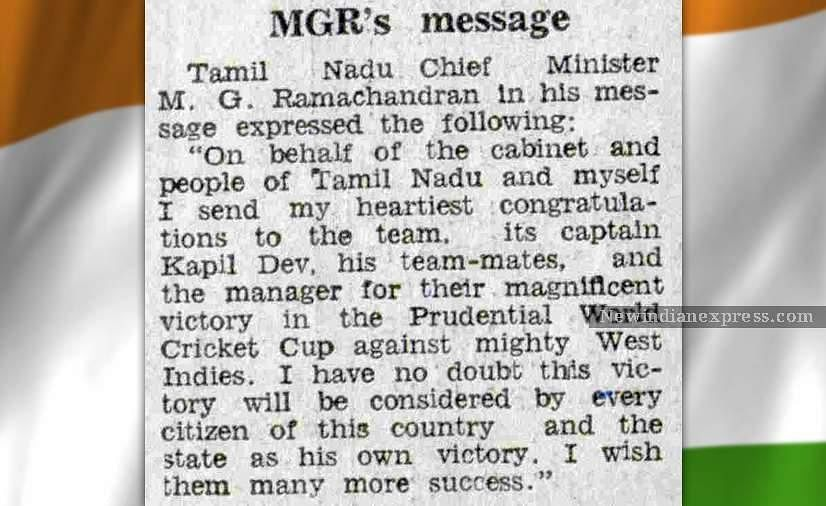 A news article reports late Tamil Nadu CM M G Ramachandran's message congratulating the Indian team.