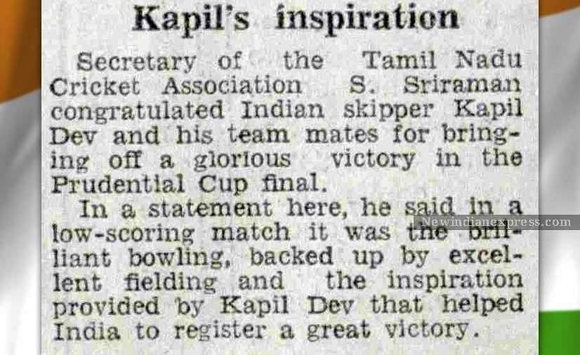 A news brief from 25th June, 1983, a day after India's historic victory in the World Cup.