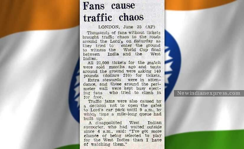 A news clip reporting the continuous traffic jams caused by the fans who attempted to enter the Lord's Cricket Ground to watch the World Cup final match between India and West Indies.