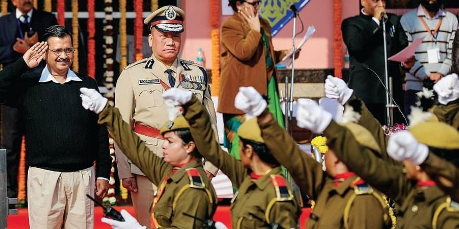 Chief Minister Arvind Kejriwal during the State Republic Day parade