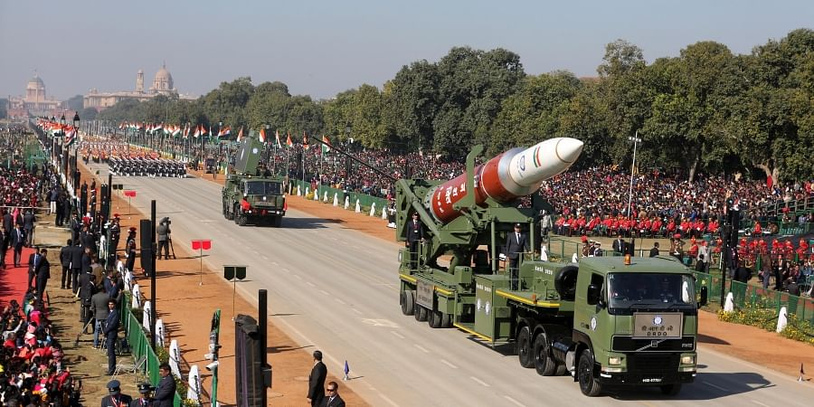 A tableaux of the DRDO takes part in a full dress rehearsal for the upcoming Indian Republic Day parade in New Delhi on Thursday. (Photo | Shekhar Yadav/EPS)
