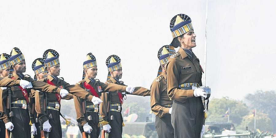 Indian Army Capt Tania Shergill, who became the first woman officer as parade Adjutant during the Army Day Parade at Cariappa Ground, New Delhi