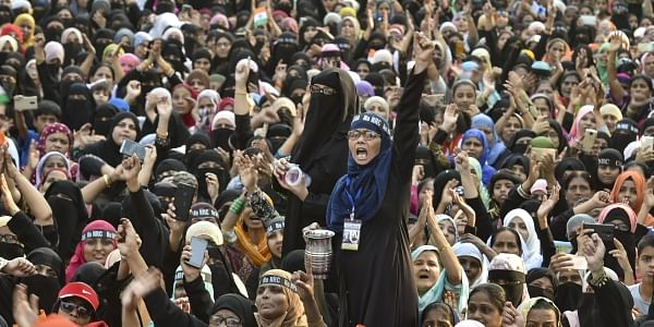 Muslim women participate in a protest rally against NRC and CAA at Mumbra near Thane Sunday Jan. 26 2020. (Photo | PTI)