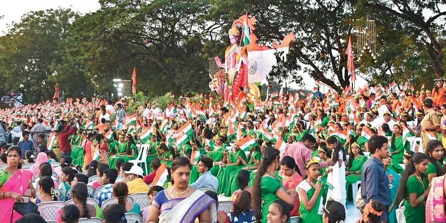 Hundreds take part in the Bharatha Matha Maha Harathi in the city on Sunday  Minister of State for Home Affairs Kishan Reddy, Governor Tamilisai Soundararajan, Jana Sena chief Pawan Kalyan at the event.
