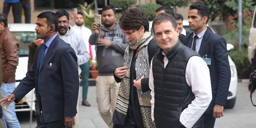 Former Congress President Rahul Gandhi and General Secretary, AICC Priyanka Gandhi arrives to meet  NHRC member in New Delhi on Monday.